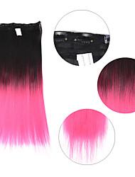 """neitsi® 110г 22 """"полный глава 5clips Kanekalon синтетические части волос клип в / на прямых расширений T-розовый #"""