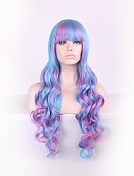 mulheres onda longa e profunda cabelo sintético peruca multi-cor completa golpe com rede de cabelo gratuito
