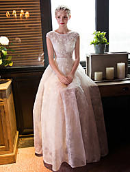 A-line Wedding Dress Floor-length Scoop Lace with Beading / Crystal / Flower / Lace