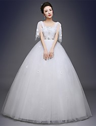 Ball Gown Wedding Dress-White Floor-length Square Satin / Tulle