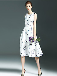 Women's Simple Floral A Line Dress,Round Neck Midi Polyester / Nylon