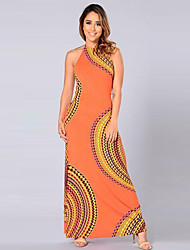Women's Vintage Print Sheath Dress,Halter Maxi Polyester
