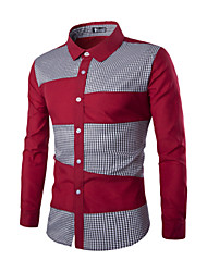 Men's Long Sleeve Shirt,Cotton Work Plaids