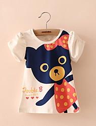 Tee-shirts Fille de Décontracté / Quotidien Coton Eté Rose / Blanc