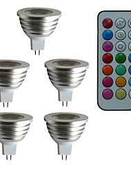5 pcs MR16 3W 1X3W LED Dimmable/21Keys Remote-Controlled/Decorative RGB Spotlights AC/DC 12V