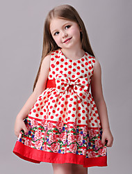 Girl's Polka Dot Dress,Polyester Summer Red