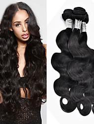 """3 PC / 8 """"-24"""" onda del cuerpo de color negro natural del pelo virginal brasileño extensiones del pelo humano sin procesar bajo precio de"""
