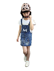 Girl's Wild Casual Letter Print Denim Strap Dress