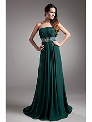 Formal Evening Dress A-line Strapless Sweep / Brush Train Chiffon with Beading / Draping