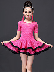 Latin Dance Dresses Children's Performance Lace / Viscose Lace 2 Pieces Black / Fuchsia / Royal Blue Latin Dance Shorts / Dress