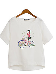 Vrouwen Grote maten / Street chic Zomer T-shirt,Casual/Dagelijks Print Ronde hals Korte mouw Wit / Beige Polyester Medium