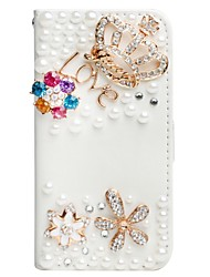 3d de luxe en cristal bling strass portefeuille en cuir carte flip pochette support cas de couverture pour iphone5 / 5s / se
