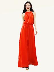 Women's Street chic Solid Swing Dress,Halter Maxi Polyester