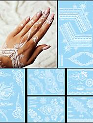6pcs Mode-Flash-wasserdichte Tattoo weißer Tinte Frauen Männer Henna Band Juwel Halskette Design
