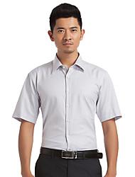 Sieben Brand® Herren Hemdkragen Kurze Ärmel Shirt & Bluse Hellgrau-E99A307683