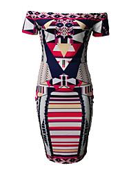 De las mujeres Vaina Vestido Simple Estampado Midi Escote Barco Poliéster