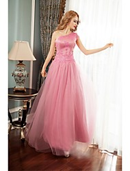 Formal Evening Dress-Candy Pink Ball Gown One Shoulder Floor-length Tulle