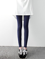 Women 100% Cotton Comfortable Striped Cross - spliced Legging,Fashion Pencil Pants