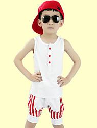 Boy's Summer Stripes Sleeveless Tank Top Sport Clothes Set
