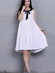Bow Bow Maternity Dress,Cotton Knee-length Sleeveless