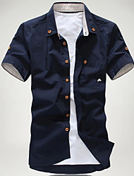 Men's Short Sleeve Shirt,Cotton Casual Solid
