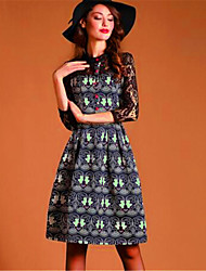 Women's Street chic Print A Line Dress,Stand Knee-length Polyester