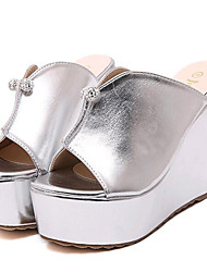 Women's Shoes Leatherette Wedge Heel Wedges / Heels Sandals / Slippers Outdoor / Casual Silver / Gold