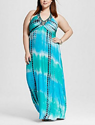 Women's Going out / Plus Size Simple Loose Dress,Print Halter Maxi Sleeveless Blue Cotton Spring High Rise