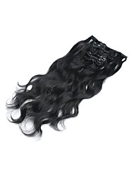 "15""-22"" 7pcs/set Clip in Human Hair Extensions Wavy Malaysian Virgin Hair Clip Ins Body Wave #1 Jet Black For"
