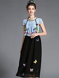AOFULI Women's Plus Size Elegant Vintage Hollow Patchwork Embroidery 3D Butterfly Long Dress