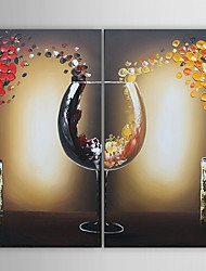 Oil Painting Modern Wine Cup Set of 2 Hand Painted Canvas with Stretched Framed