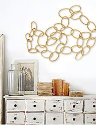e-FOYER mur d'art de mur en métal décor, or cercle chaîne décoration murale un pcs