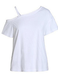 Women's Solid White / Black T-shirt,One Shoulder Short Sleeve