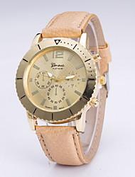 Mulheres Relógio de Moda Quartzo Couro Banda Preta Azul Bege # 1 # 2 # 3