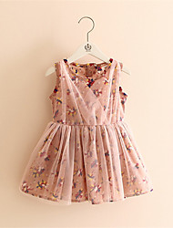 Children One Piece Dress Sleeveless Dresses Princess Pink Floral Lace Party Dress Sundress