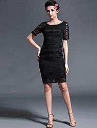 Baoyan® Women's Round Neck Short Sleeve Above Knee Dress-150109