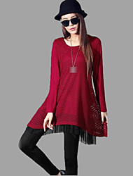 Women's Lace Red/Black Plus Size Dresses , Casual Round Long Sleeve