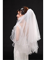 Wedding Veil Two-tier Fingertip Veils Pencil Edge Tulle / Lace Beige