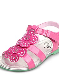 Girls' Shoes Dress / Casual PU Summer Comfort / Open Toe / Sandals Flat Heel Crystal / Flower / Magic Tape Green / Pink