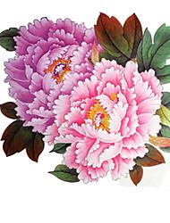 1 peças impermeáveis grandes peônia rosa padrão backing adesivos tatuagem