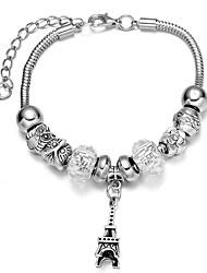 Fine Silver Beads Strands Bracelet Eiffel Tower Pendants Jewelry for Lady