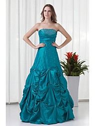A-Line Strapless Floor Length Taffeta Formal Evening Dress with Beading Pleats