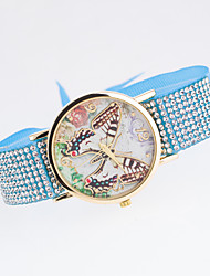 Women's New Trend European Style Fashion Rhinestone Colorful Butterfly Bracelet Watch