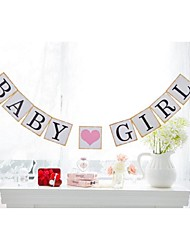 Baby Girl with Pink Heart Hanging Garlands Birthday Baby Shower Banner Bunting Photo Props