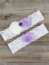2pcs/set Lavender And White Milk Satin Lace Chiffon Beading Wedding Garter