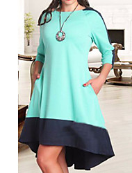Women's Casual/Daily / Plus Size Simple Loose Dress,Color Block Round Neck Knee-length ¾ Sleeve Blue / Red / White Polyester Summer