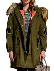 Women's Print Green Padded Coat,Plus Size Hooded Long Sleeve