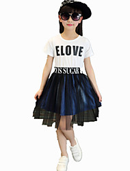 Girl's Casual Round Collar Print Letter Stitching Denim Mesh Dress