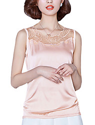 Summer Plus Size Women's Lace Gauze Spliced Round Neck Slim Vest Solid Color Joker Sleeveless Bottoming Tops