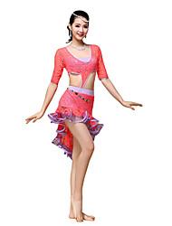 Dança do Ventre Vestidos Mulheres Treino Renda Renda Franzido 1 Peça Meia manga Vestido